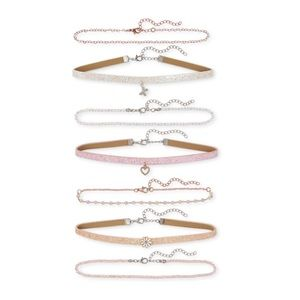 NWT Girls Glitter Choker Necklace 7-Pack